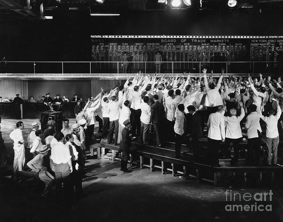 Occupation Photograph - Crowd Of Excited Traders At Stock by Everett Collection
