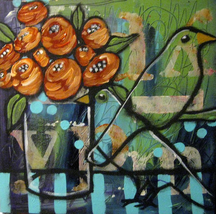 Crows Painting - Crows And Roses by Suzan Buckner
