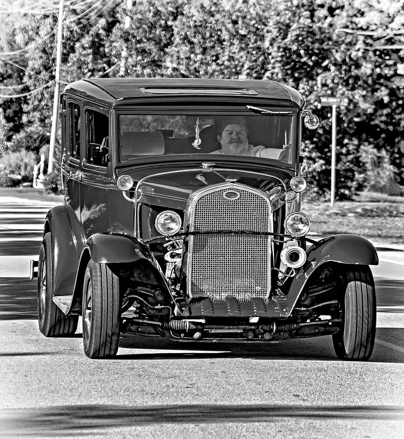 Cruising Sauble Beach - Red Ford Hotrod Bw Photograph