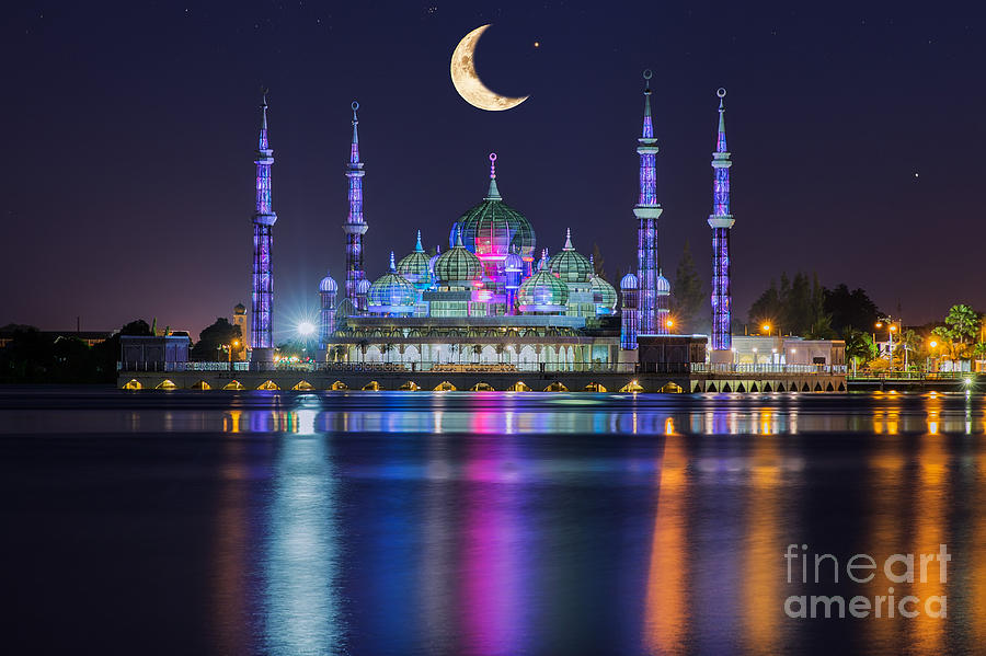 Religious Photograph - Crystal Mosque With Moon And Star In by Anek.soowannaphoom
