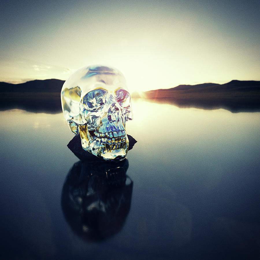 Crystal Skull Laying On Rock In Lake Photograph by Doug Armand