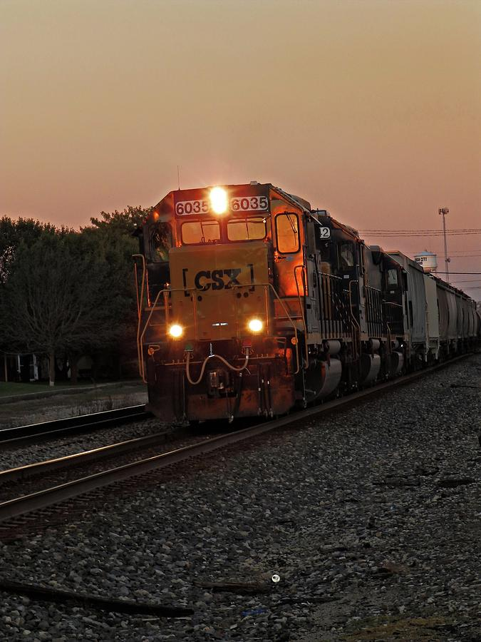 CSX Freight Train Chasing the Sunset by Robert Worth