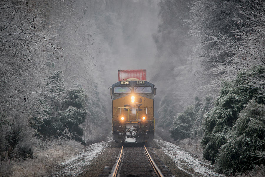 Csx Intermodal Through An Ice Forest At Mortons Gap Ky by Jim Pearson