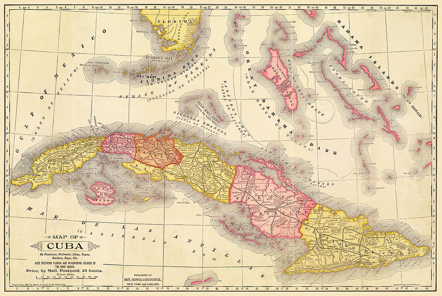 Cuba Antique Map at about the time of the Spanish-American War by Phil Cardamone