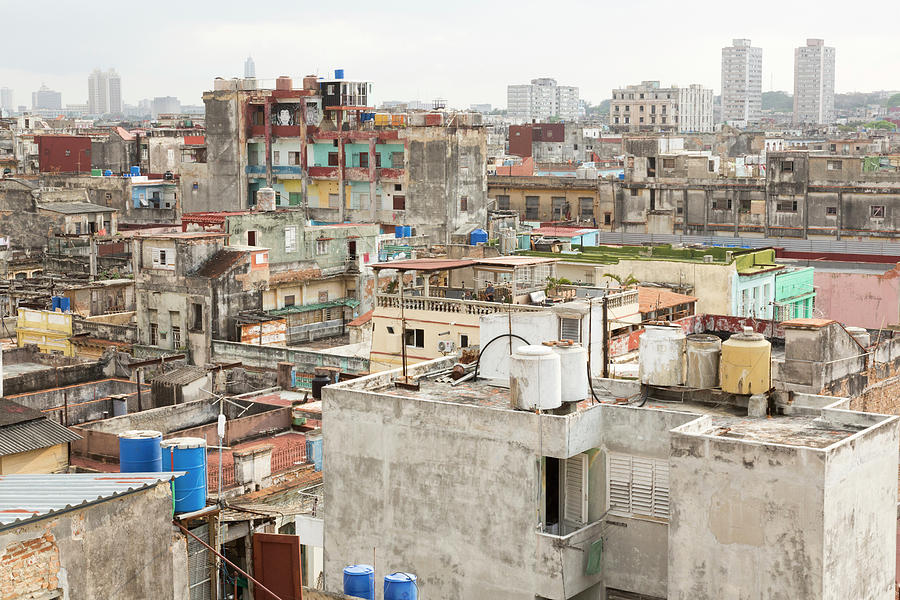 Aerial Photograph - Cuba, Havana Overview Of Buildings by Jaynes Gallery