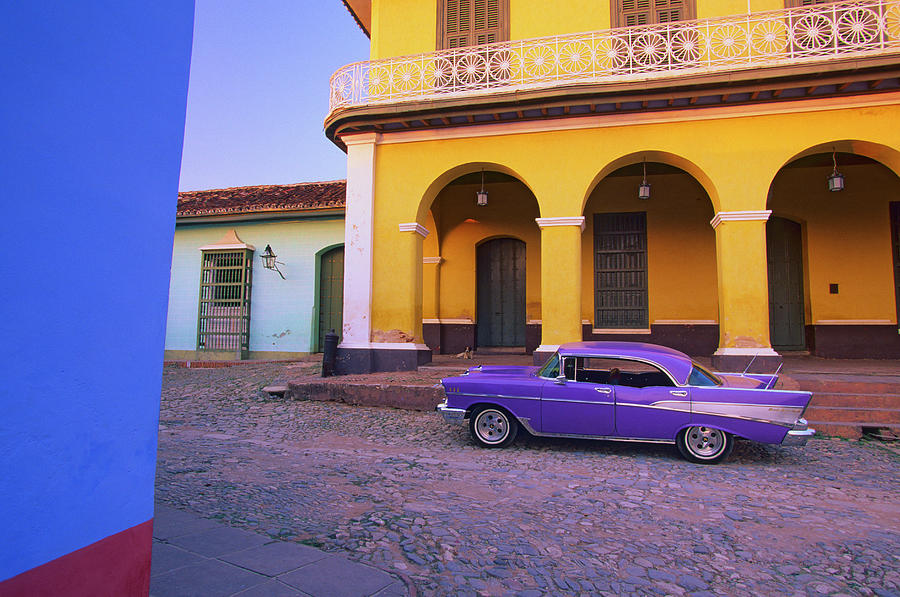 Cuba, Trinidad, Classic Car By House Photograph by Stuart Dee