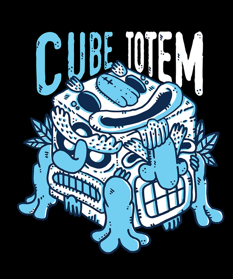 Native American Tiki Face Cube Totem