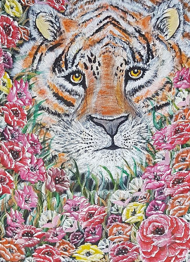 Tiger Painting - Cuddles The Tiger Small  by Angela Whitehouse