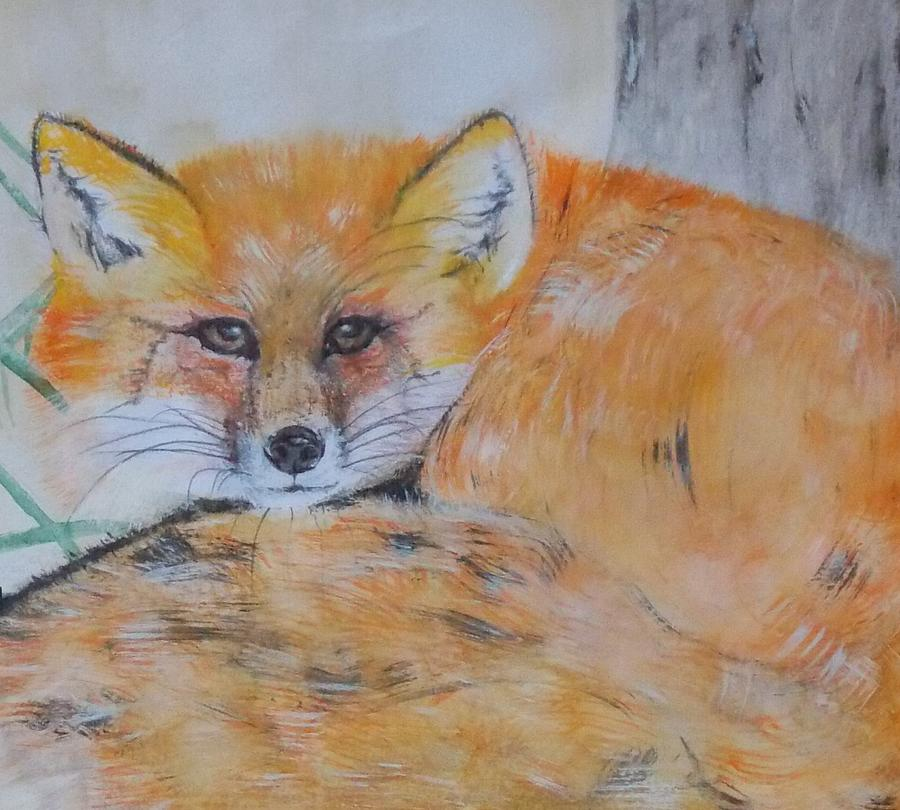 Foxes Painting - Cunning Foxy by Theresa Brummett