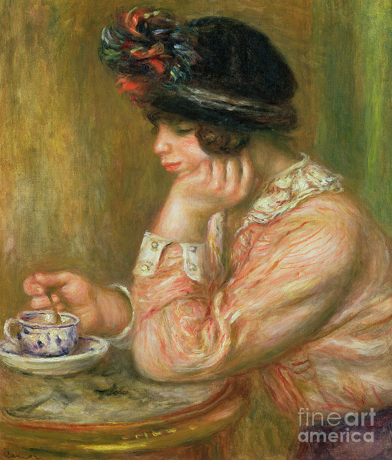 Interior Painting - Cup Of Chocolate, 1914  by Pierre Auguste Renoir