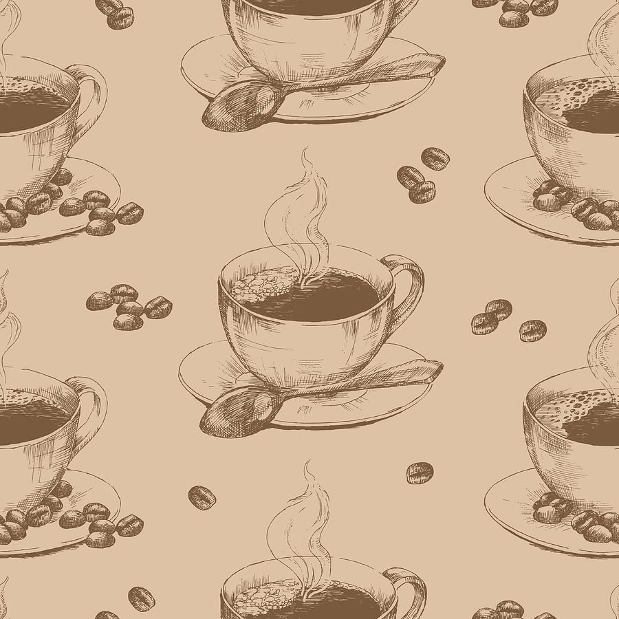 Cup Of Hot Coffee Seamless Digital Art by Annagarmatiy