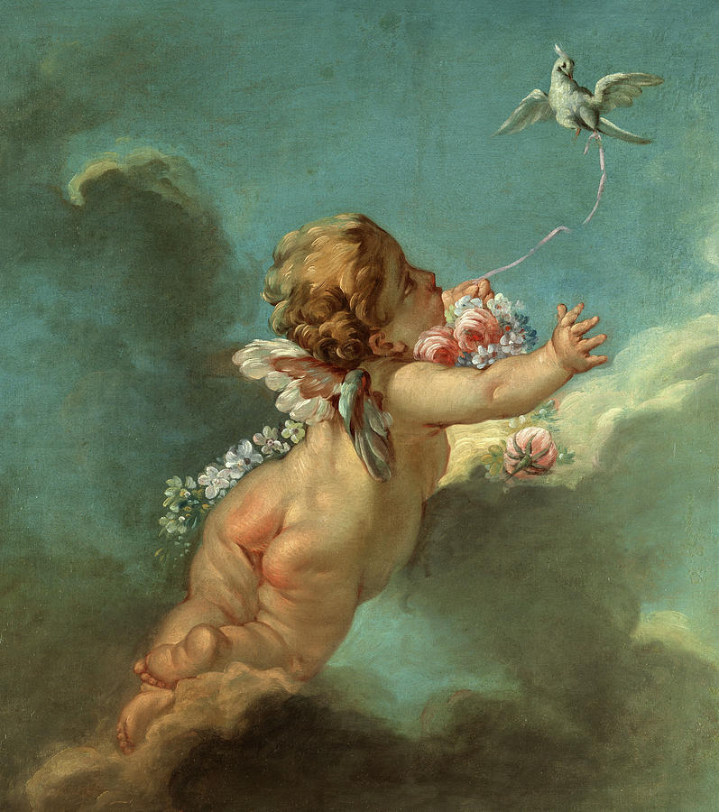 Francois Boucher Painting - Cupid With A Flying Pigeon by Francois Boucher