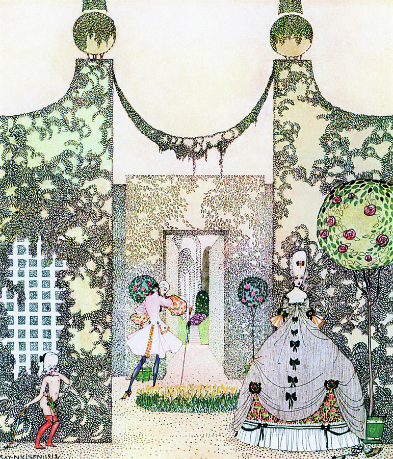 Princess Painting - Cupid With Prince Mirrawlow And Court Ladies Who Are Playing In The Garden by Kay Nielsen