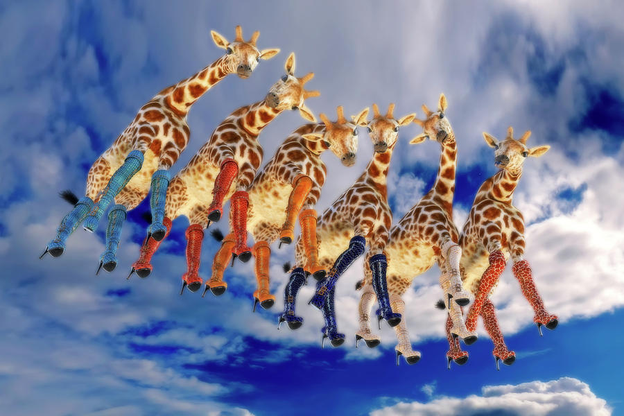 Surreal Digital Art - Curious Giraffes  by Betsy Knapp