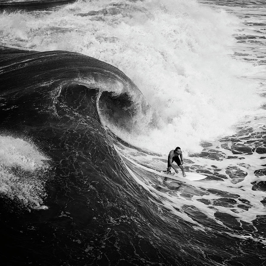 Curl - Big Wave Surfer bw by Laura Fasulo