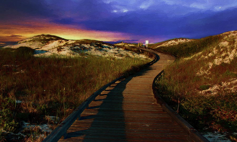 Curved Boardwalk Through Sand Dunes at Sunset by Russ Harris