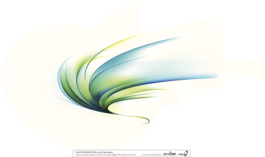 Curved Shape On White Background Digital Art by Eastnine Inc.