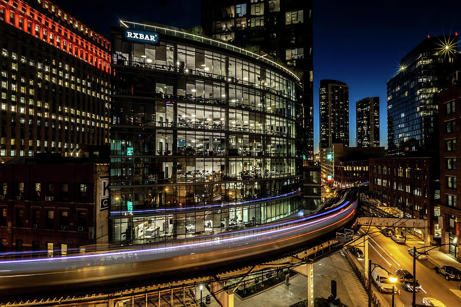 El Photograph - Curvy Chicago Train Time Exposure by Sven Brogren