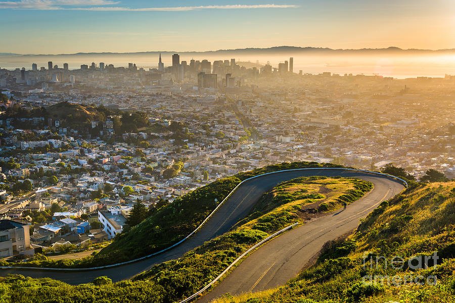 Francisco Photograph - Curvy Road And View Of Downtown by Esb Professional