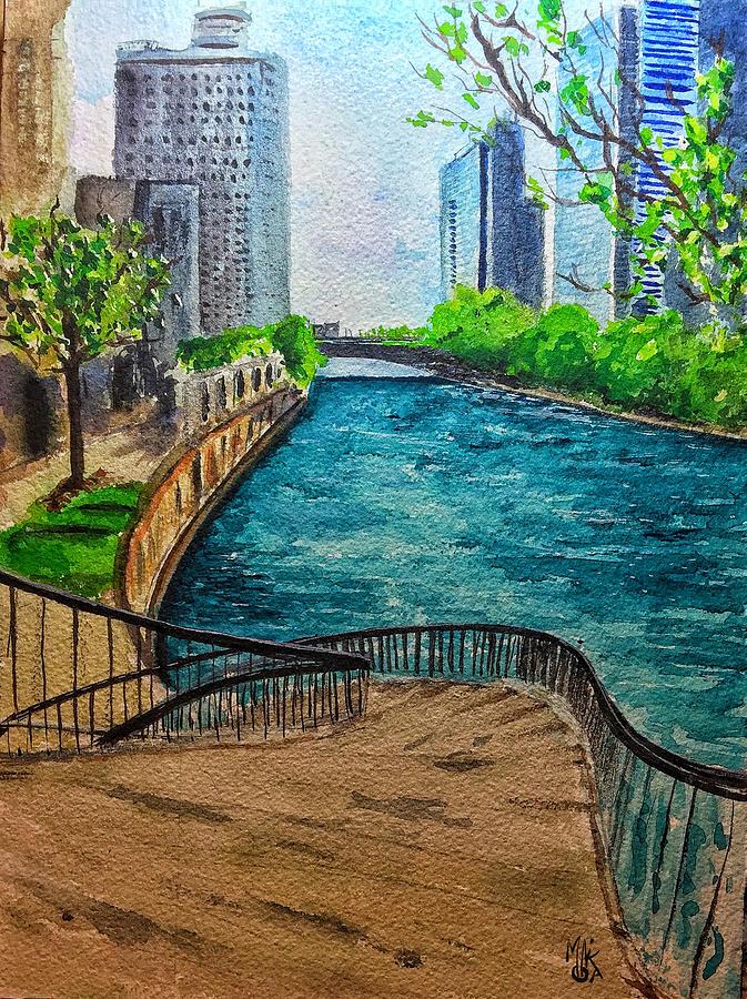 Chicago Painting - Curvy Steps on the River Walk by Monika Arturi