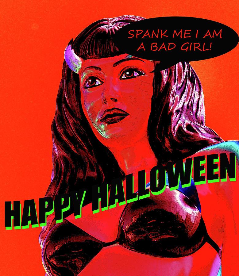 She Devil Mixed Media - Custom Halloween Card She-devil by David Lee Thompson