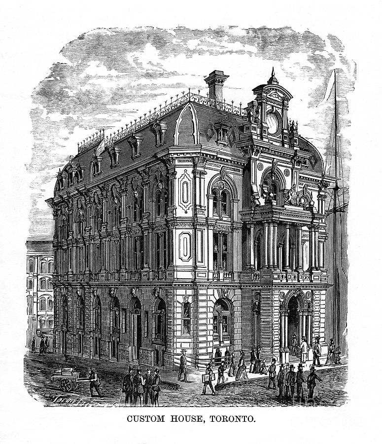 Custom House, Toronto, Ontario, Canada Drawing by Print Collector