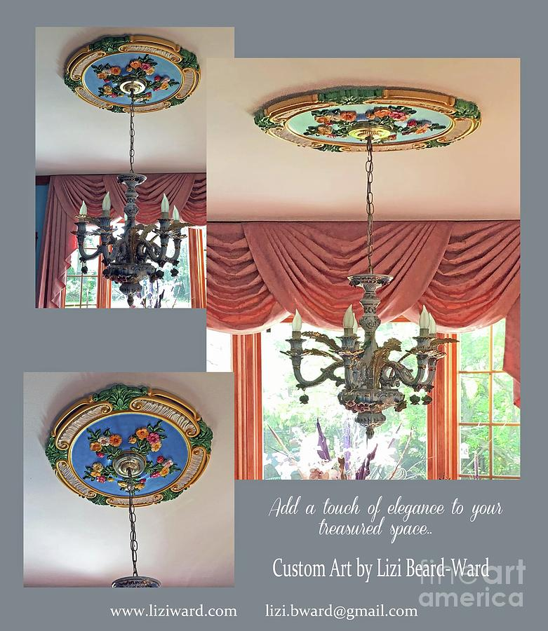 Custom Painted Ceiling Medallion Installed by Lizi Beard-Ward