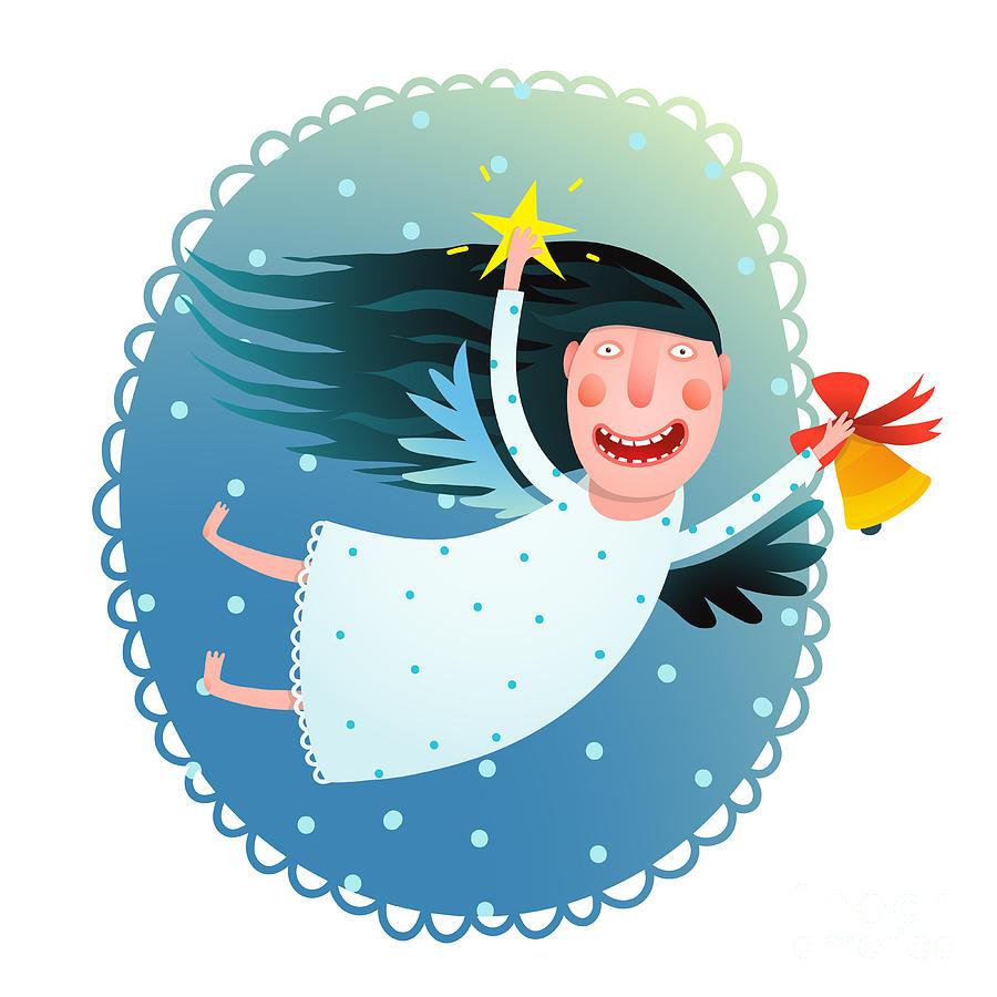 Snowfall Digital Art - Cute Angel Girl Holding Star And Bell by Popmarleo