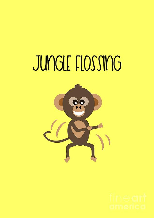 Cute Animal Monkey Jungle Flossing  by Barefoot Bodeez Art