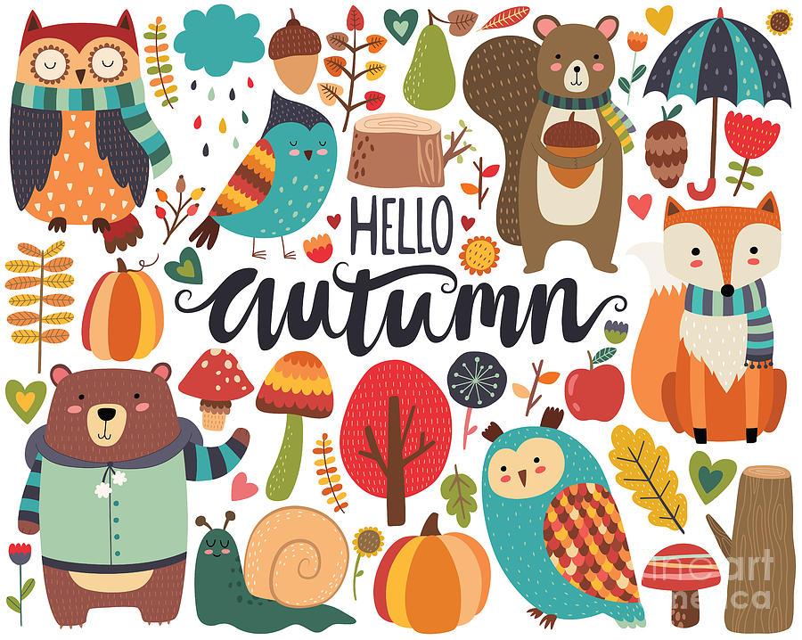 November Digital Art - Cute Autumn Woodland Animals And Fall by Mckenna71