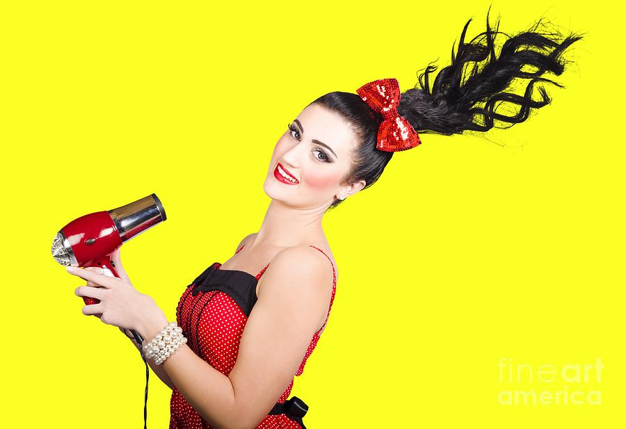 Girl Photograph - Cute brunette retro woman with hair dryer by Jorgo Photography - Wall Art Gallery