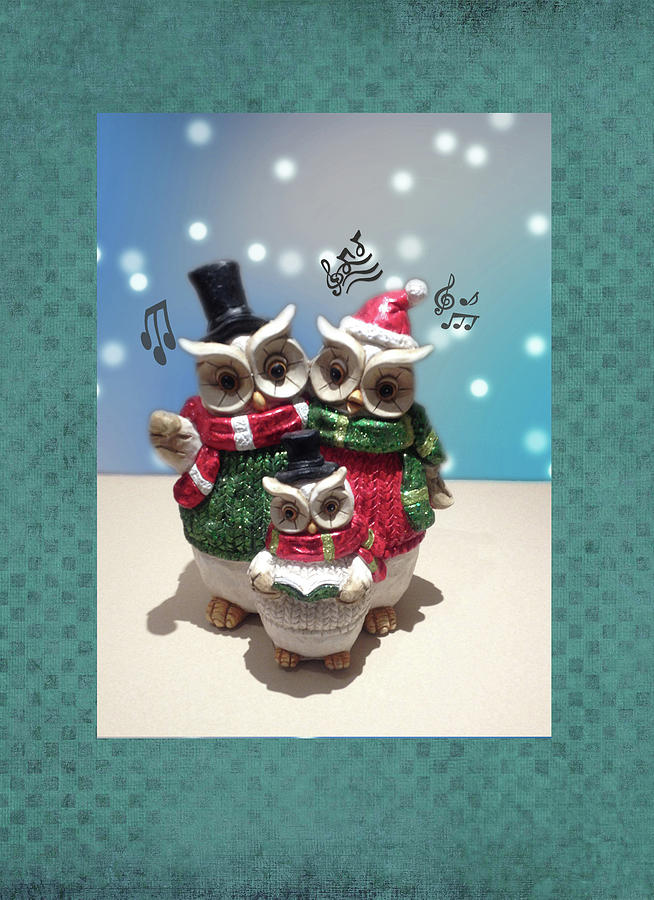 Cute Caroling Owles by Jacqueline Sleter