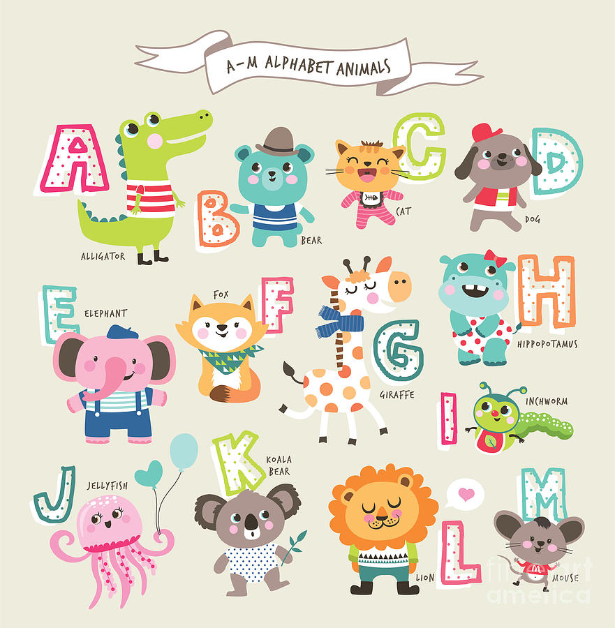 Education Digital Art - Cute Cartoon Animals Alphabet From A To by Littlewhale
