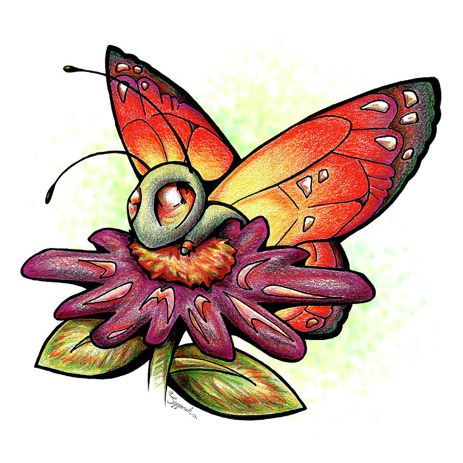 Cute Cartoon Butterfly by Sipporah Art and Illustration