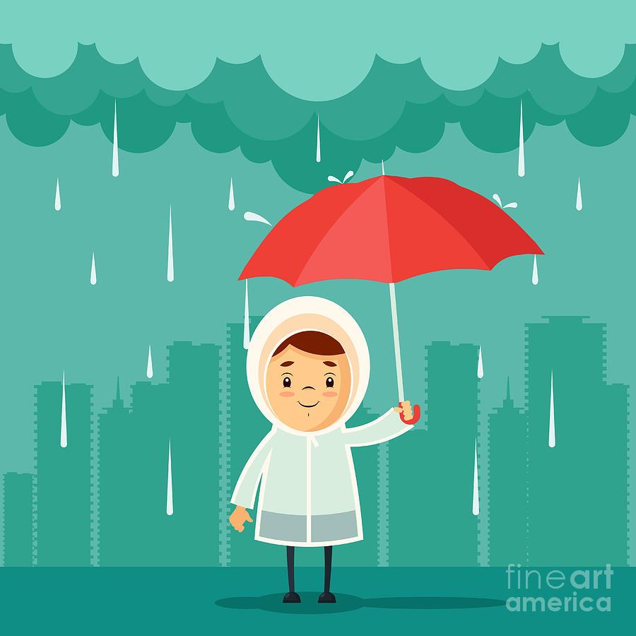 Bad Digital Art - Cute Cartoon Kid With Umbrella Standing by Stickerama