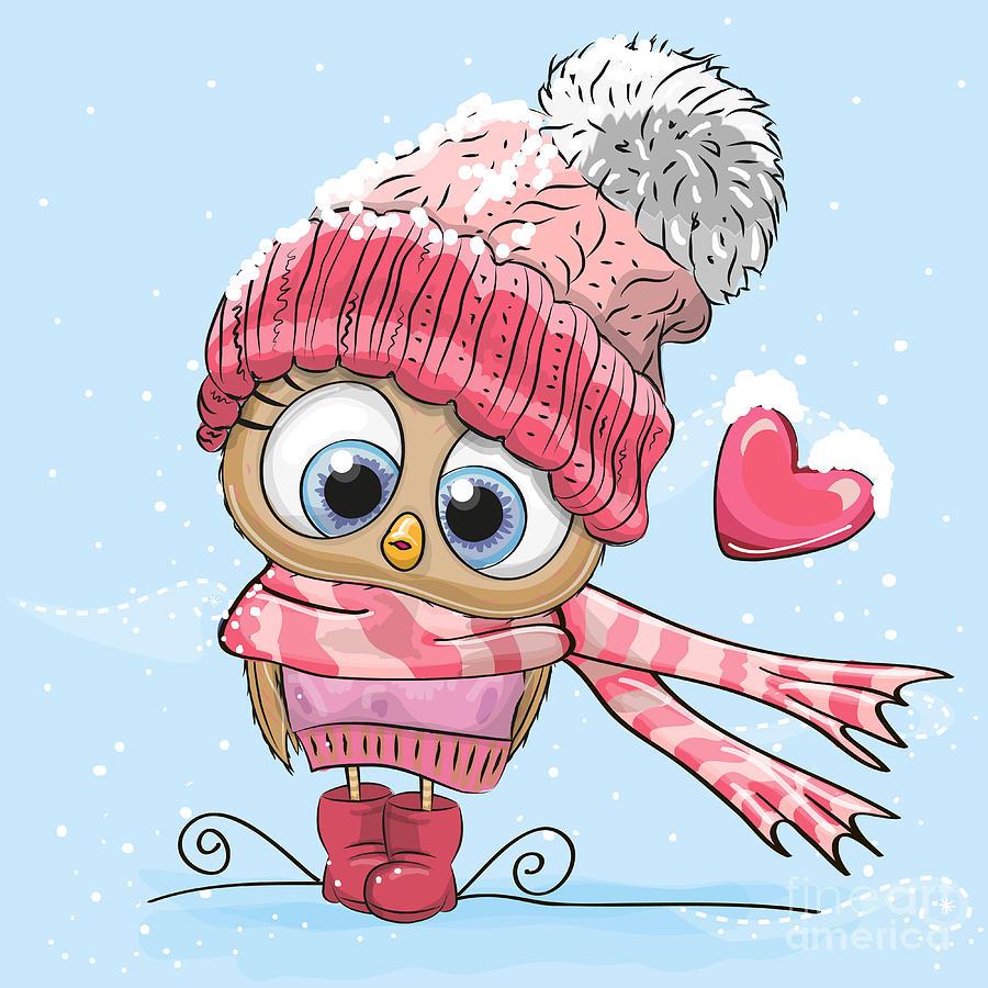 Love Digital Art - Cute Cartoon Owl In A Hat And Scarf by Reginast777