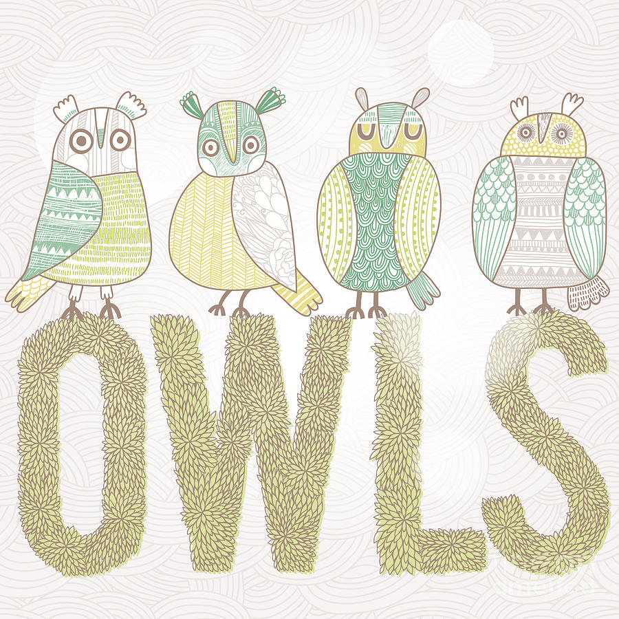 Symbol Digital Art - Cute Cartoon Owls In Vector With Text by Smilewithjul
