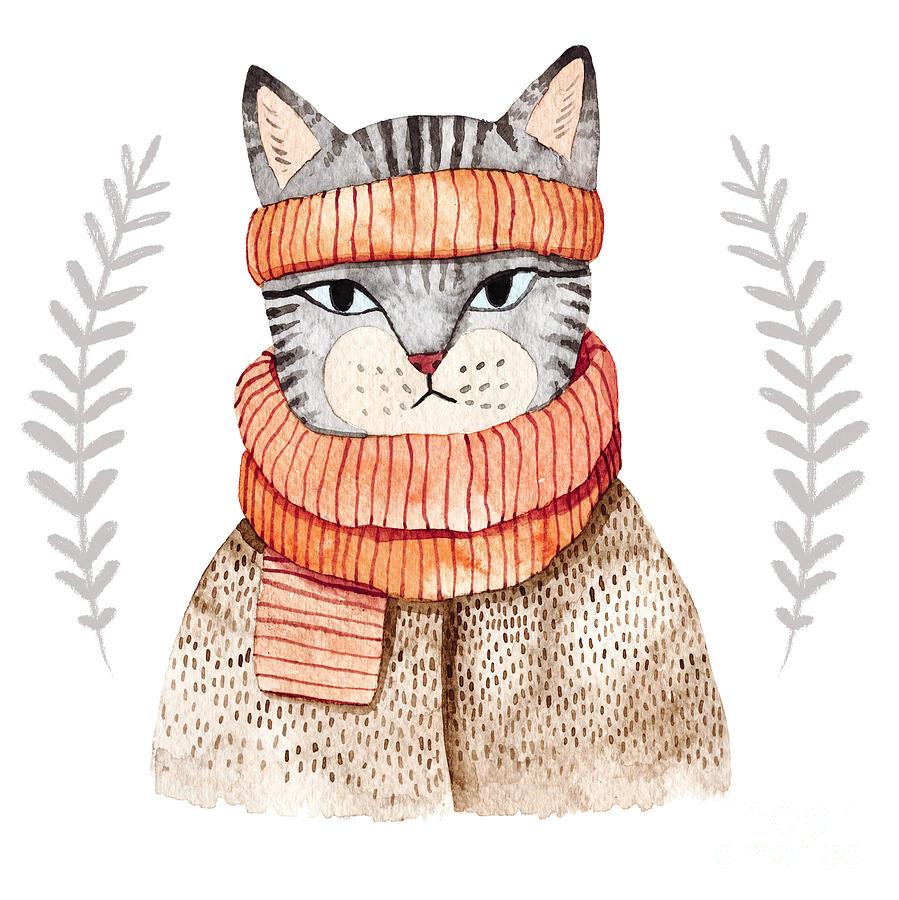 Fur Digital Art - Cute Cat In Scarf illustration by Maria Sem