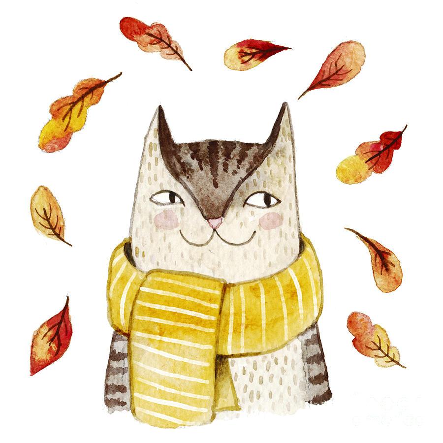 Fur Digital Art - Cute Cat In Scarf With Autumn Leaves by Maria Sem