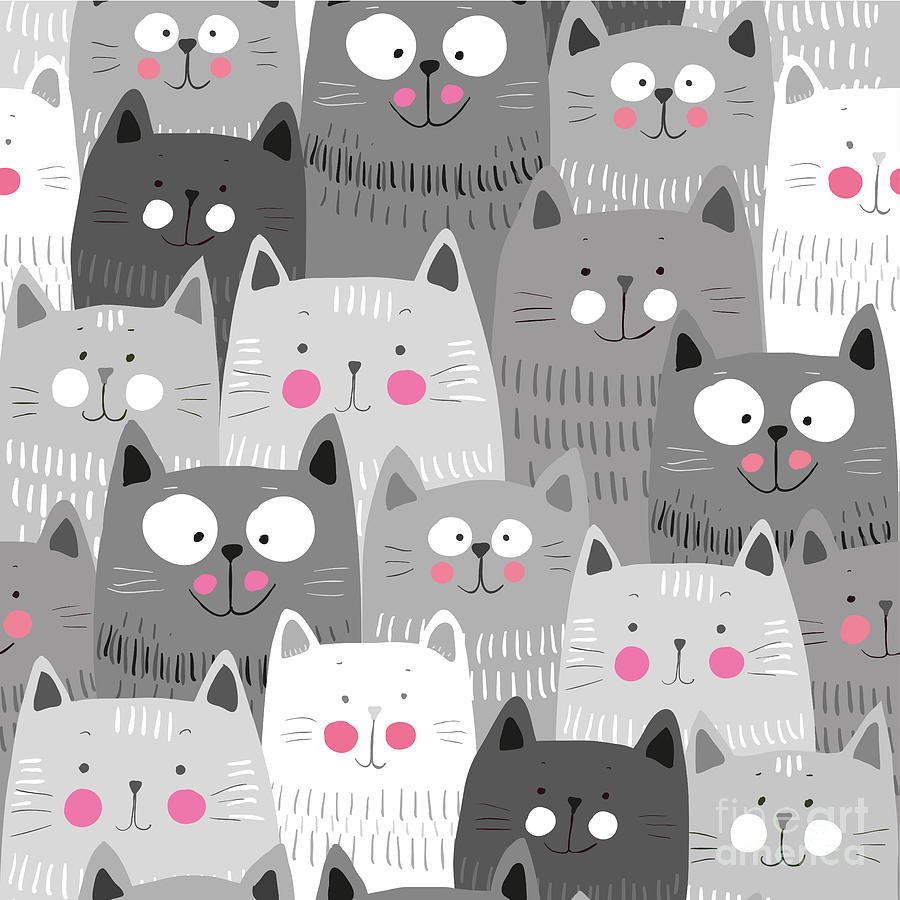 Love Digital Art - Cute Cats Colorful Seamless Pattern by Marianna Pashchuk