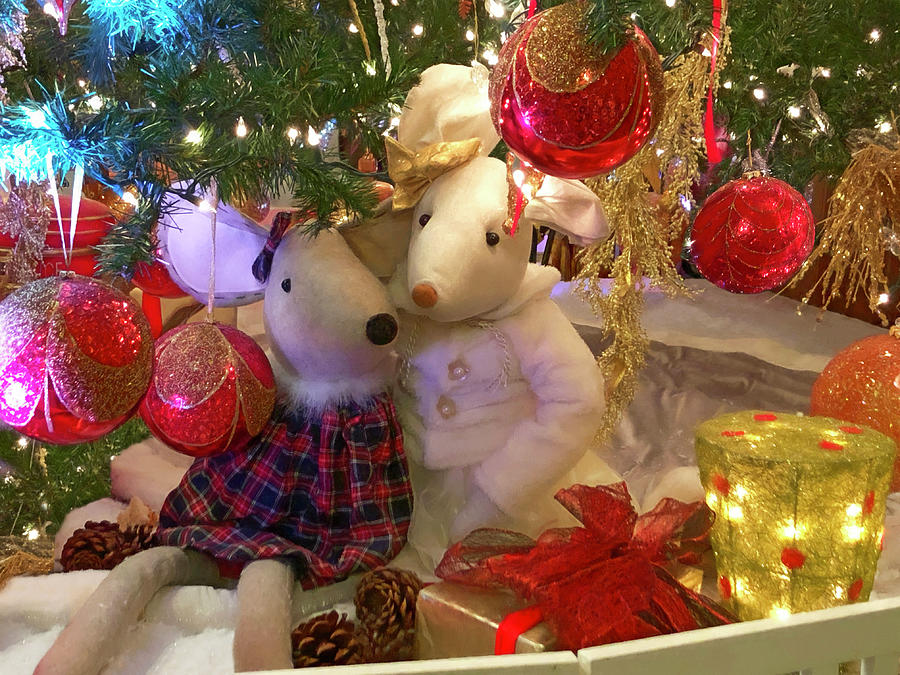 Cute Christmas Mouse Couple by Bonnie Follett