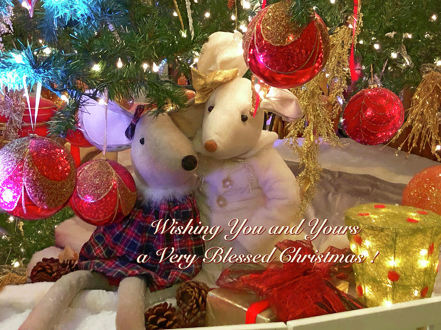 Cute Christmas Mouse Couple with Text by Bonnie Follett