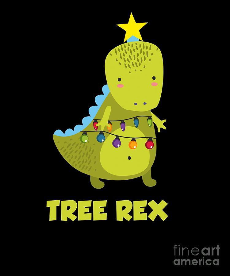 Christmas Dinosaur.Cute Christmas Tree Rex Dinosaur Dino Tyrannosaurus Rex Xmas
