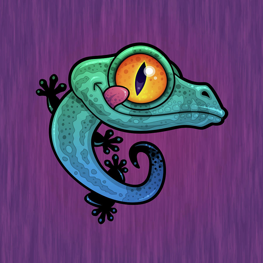 Lizard Digital Art - Cute Colorful Cartoon Gecko by John Schwegel