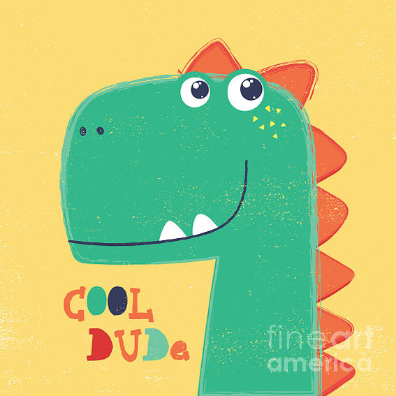 College Digital Art - Cute Dinosaur Head Drawing For Baby by Mke Design