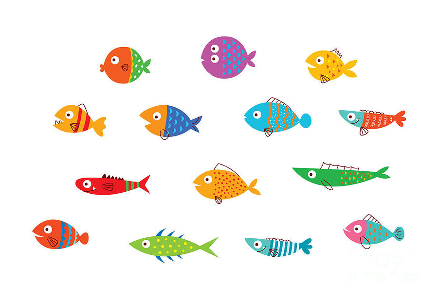 Fauna Digital Art - Cute Fish Vector Collection by Judilyn