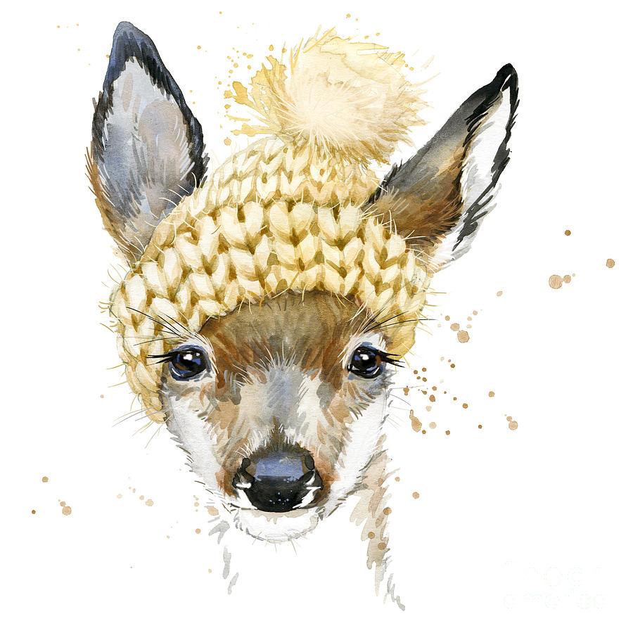 Forest Digital Art - Cute Forest Deer Watercolor Drawing by Faenkova Elena