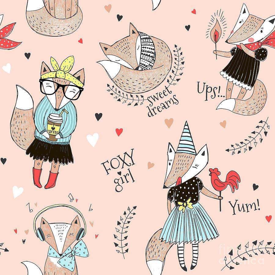 Dress Digital Art - Cute Fox Character Seamless Pattern by Olga angelloz