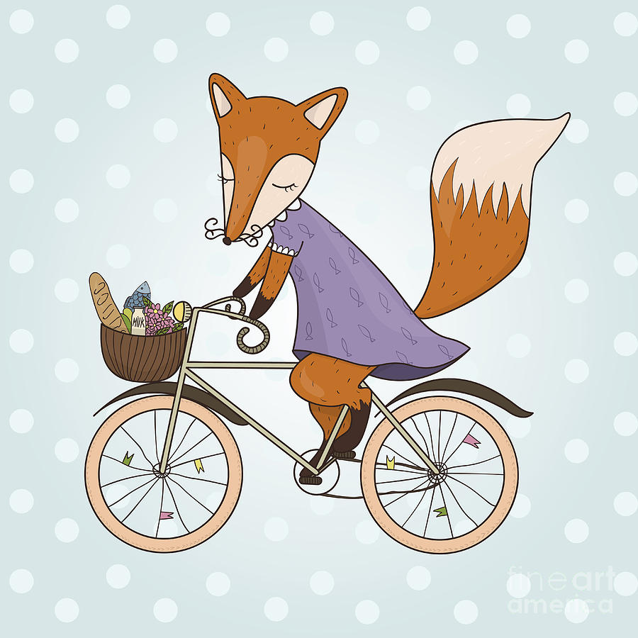 Small Digital Art - Cute Fox Riding On A Bicycle .bicycle by Maria Sem