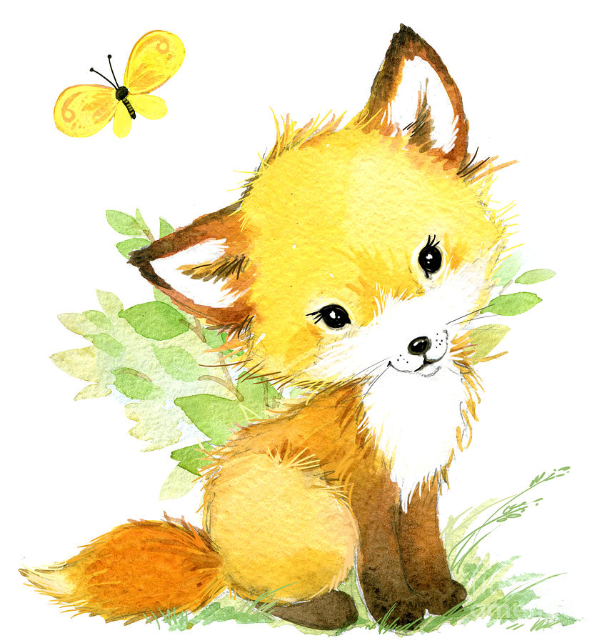 Forest Photograph - Cute Fox. Watercolor Forest Animal by Faenkova Elena